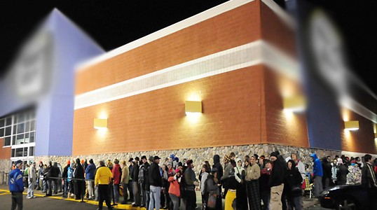 Black Friday shoppers wait in line in 30 degree temperatures